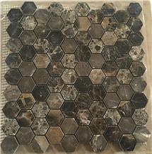 Dark Emperador Marble Hexagon Mosaic Tile Price