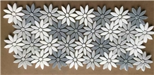 Grey Marble Cararra Marble Flower Mosaic Tile