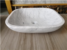 Oval Carrara White Marble Bathroom Vessel Basins