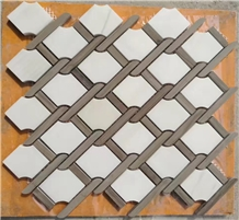Polished Bianco Carrara Marble Mosaic Floor Tile