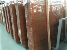 Red Wood Grain Onyx Slabs & Walling Flooring Tiles