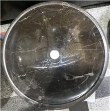 Round China Dark Emperador Brown Marble Sink Price
