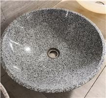 Round Grey Granite Stone Bathroom Vessel Sinks