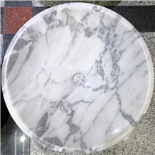 Round Statuario Venato Marble Bathroom Vessel Sink