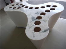 Faux Alabaster Panel Translucent Stone Table