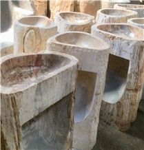 Pedestal Basin Natural Shape in Marble, River Stone and Petrified Wood