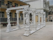 Beautiful White Mabrle Sculpture Gazebo