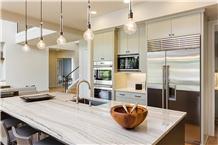 White Santorini Quartzite Kitchen Countertop