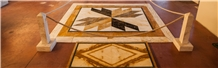 Broccatello,Portoro,Bianco Di Siena,Giallo Siena-Giallo Avorio, ,Bianco Carrara Waterjet Floor Medallions