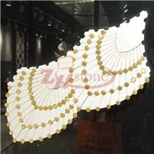 Metal&Oriental White Marble Mosaic Necklace Design