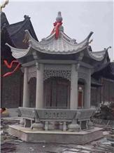 Grey Granite Hexangular Pavilion, Chinese Pagoda