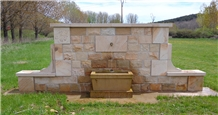 Camel Brown Sandstone Wall Mounted Fountain