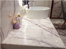 White Marble with Grey Line Wall Flooring Pattern