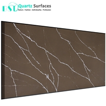 Chocolate Brown Veined Quartz Stone for Countertop