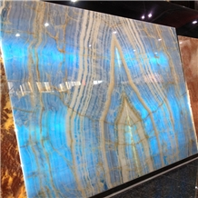 New Crystal Blue Color Onyx Stone Slabs