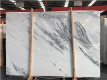 Ink White Painting Marble Slabs for Wall & Floor
