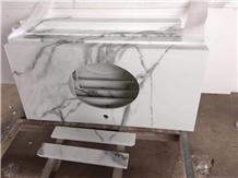 Calacatta White Nano Stone Customized Vanity Tops