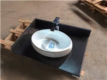 G654 Dark Grey Granite Hotel Vanity Top Sinks