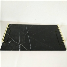 Gorgeous Rectangle Marble Tray with Gold Handles