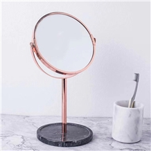 Table Standing Makeup Mirror with Black Marble