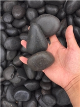 50-80mm Black Polished River Pebbles