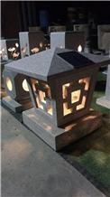 Outdoor Japanese Solar Led Granite Lantern