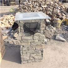 Mail Box Post Slate Stacked Stone Panel Column