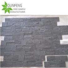 China Black Cultured Stone Slate Wall Cladding