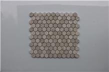 China Hexagon Light Wooden Marble Mosaic,Tiles