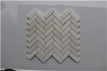 Greek Thassos White Herringbone Marble Mosaic