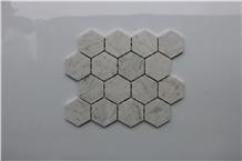 Italy Carrara White Hexagon Tumbled Marble Mosaics