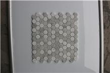 Italy Hexagon Carrara White Brushed Marble Mosaics