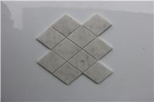 Italy Rhombus Carrara White Marble Mosaics Stones