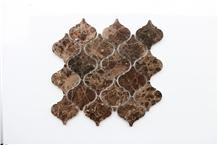 Spain Dark Emperador Latern Marble Mosaic Stone