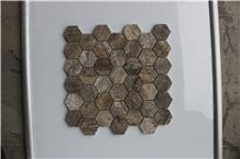 Turkey Hexagon Dark Emperador Marble Mosaics,Tiles