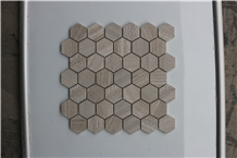 Turkey Hexagon Light Wooden Marble Mosaic,Tiles