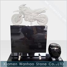 Motorcycle Headstone Black Granite Memorials
