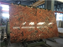 Cloudy Red Granite Slabs Stone Floor Tile Polished