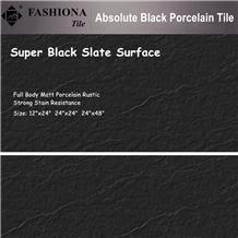 Absolute Black Slate Porcelain Tile