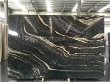 Antique Black/Ancient Wood Grain Marble Slab&Tile