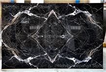 3-D Black Slab Four-Matched, Black & White Marble