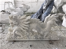 Hand Carved Marble Dragon, Natural Stone Sculpture