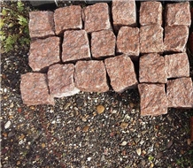 Red Granite Cubes Stone 10x10x10cm, Natural Split