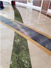 Ming Green Water Jet Marble Medallion Floor Tiles