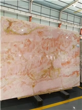 Polishing Red Pink Onyx Slabs Tiles for Floor Wall