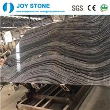 Polished Black Wooden Marble Book Match Big Slabs