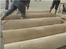 Cream Marfil Marble Columns, Solid Beige Stone