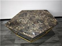 Irregular Shape Marble Top,Multicolor Coffee Table