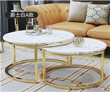 Nero Marquina Marble Tops,White Round Coffee Table