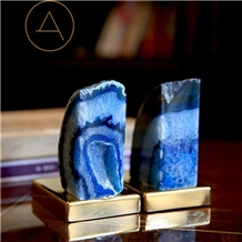Popular Natural Stone Blue Agate Bookend